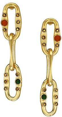 Gas Bijoux Gabriel 24K Goldplated & Mixed-Stone Link Drop Earrings