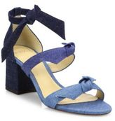 Alexandre Birman Mary Bow Colorblock Denim Block Heel Sandals
