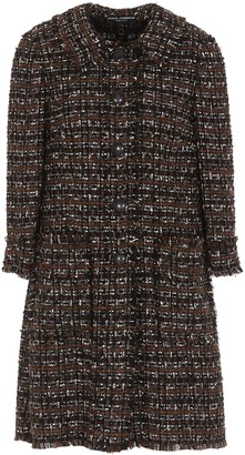 Dolce & Gabbana Plaid Tweed Coat