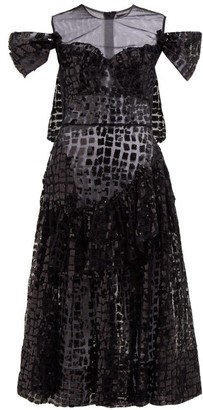 Simone Rocha Ruffled Sequinned Midi Dress - Womens - Black