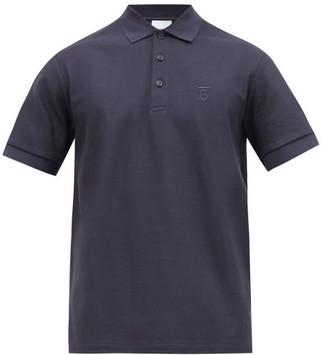 Burberry Eddie Tb-logo Cotton-pique Polo Shirt - Navy