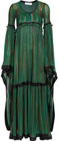 Sonia Rykiel Striped Silk Satin-trimmed Stretch-knit Gown - Green