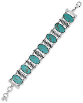 Lucky Brand Silver-Tone Large Oval Stone and Feather Bracelet