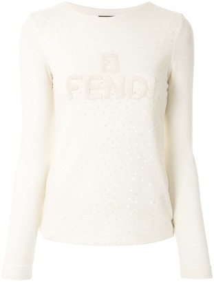 Fendi Pre Owned Logo Texture Sequinned Jumper