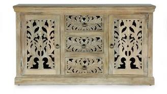 "Bungalow Rose Wellston 60"" Wide 3 Drawer Mango Wood Sideboard"