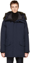Kenzo Navy Long Down and Fur Parka