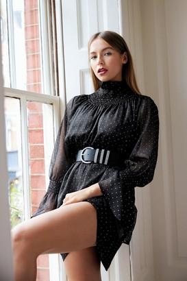 Nasty Gal Womens Sheer's to Us Polka Dot Mini Dress - Black