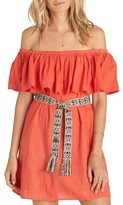 Billabong Women's Mi Bonita Off The Shoulder Ruffle Dress