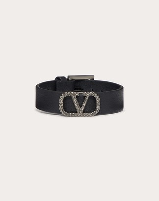 Valentino Vlogo Signature Leather Bracelet Women Black Calfskin 100% OneSize