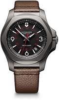 Victorinox Men's 'I.N.O.X.' Swiss Quartz Titanium and Leather Casual Watch, Color:Brown (Model: 241779)