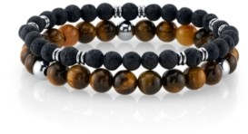 He Rocks Tiger Eye Stone and Black Lava Bead Double Bracelet with Stainless Steel Beads, 8.5""