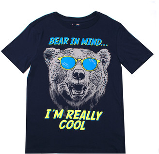 Aeropostale P.S. From p.s. from Boys' Tee Shirts NAVYD - Black 'Bear in Mind...I'm Really Cool' Crewneck Tee - Boys