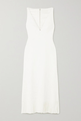 Dion Lee Perforated Fringed Stretch-ponte Midi Dress - Ivory
