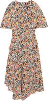 Topshop Aster Ruffled Floral-print Silk Crepe De Chine Midi Dress