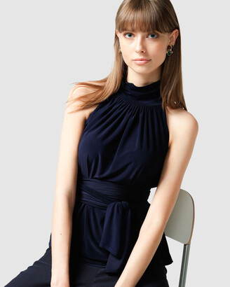 SACHA DRAKE - Women's Navy Tops - High Neck Tie Top - Size One Size, 10 at The Iconic