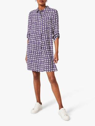 Phase Eight Ikat Houndstooth Print Shirt Dress, Purple/Ivory