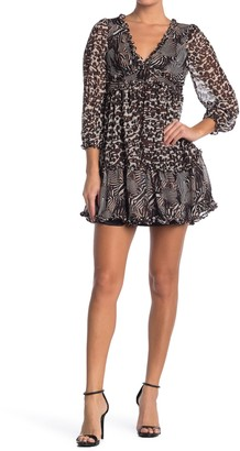 Betsey Johnson Allover Ruffle Animal Print Mini Dress (Regular & Plus Size)