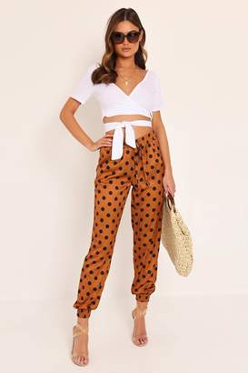 I SAW IT FIRST Rust Satin Spot Print Cuffed Jogger