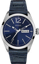 Guess W0658g1 Vertigo Stainless Steel And Leather Watch