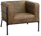Shearer Channeled Leather and Metal Club Chair 17 Stories