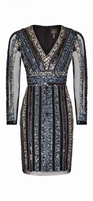 Adrianna Papell Stripe Bead Sheath Dress