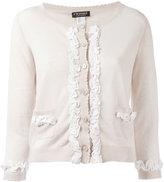Twin-Set frill detail cardigan - women - Cotton/Linen/Flax - XS