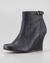 Lanvin Leather Wedge Ankle Boot, Blue Night