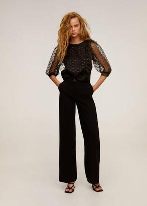 MANGO Sheer polka-dot blouse black - 2 - Women