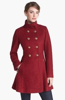 GUESS Fit & Flare Bouclé Military Coat (Online Only)