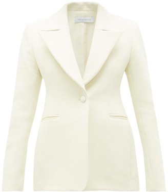 Marina Moscone Basque Single-breasted Cotton-blend Blazer - Ivory