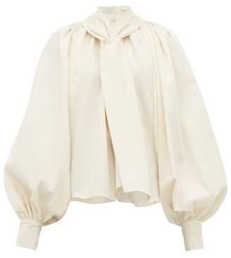 A.W.A.K.E. Mode Balloon Sleeve Cotton Canvas Blouse - Womens - Cream