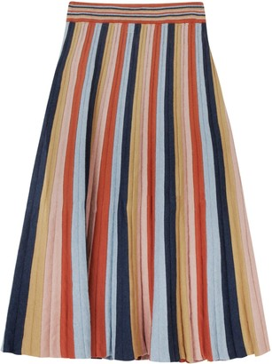 Studio Myr Boho Chic Maxi Skirt In Multi Colour Stripes Denim