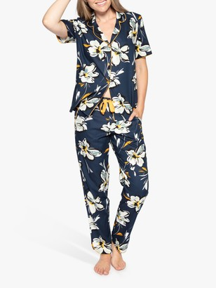 Cyberjammies Alexa Floral Print Pyjama Set, Navy