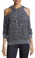Splendid Leopard-Print Hooded Cold-Shoulder Sweatshirt