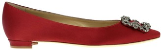Manolo Blahnik Hangisi Ballet Flats In Satin With Swarovski Crystal Buckle
