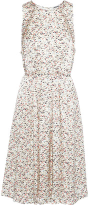 Jason Wu Collection Tie-back Pleated Floral-print Silk-charmeuse Dress