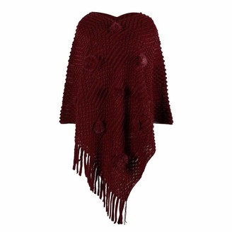 HOOUDO Women Sweater Autumn Winter Warm Kitted Poncho Top with Fringed Sides Shawl Wrap Scarf Jumper Topsfor Ladies Red