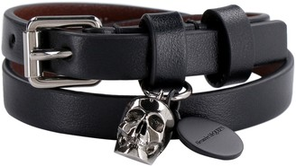 Alexander McQueen Leather Bracelet With Metal Logo Pendant And Skull