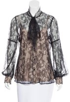 RED Valentino Lace Button-Up Top