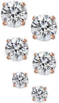 Giani Bernini 3-Pc. Cubic Zirconia Sterling Silver Stud Earrings in 18k Rose Gold-Plated, 18k Gold-Plated and Sterling Silver, Only at Macy's