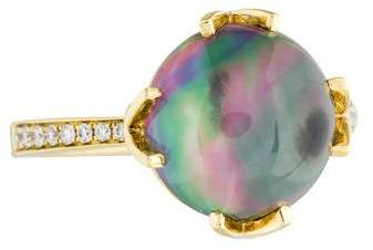 Frederic Sage 18K Diamond, Topaz & Mother of Pearl Doublet Ring