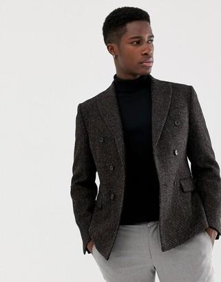 Asos Design DESIGN slim double breasted blazer in 100% wool Harris Tweed