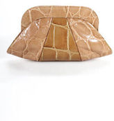 Lauren Merkin Beige Leather Clutch Animal Print Handbag Size Small
