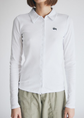 Stussy Women's Maya Long Sleeve Button Down in White Top, Size Extra Small   Spandex