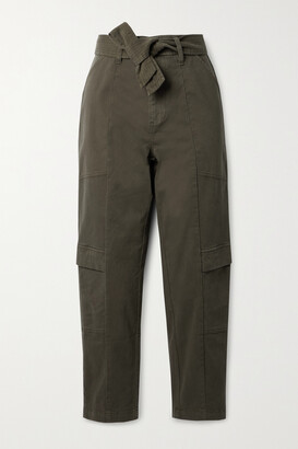 J Brand - Athena Cropped Belted Brushed Cotton-blend Twill Tapered Pants - Green