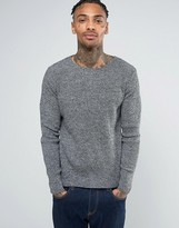 Asos Muscle Fit Ribbed Sweater in Black Twist