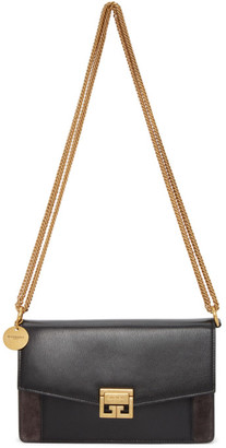 Givenchy Black and Grey Suede GV3 Wallet Bag