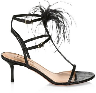 Aquazzura Ponza Feather-Trimmed Croc-Embossed Leather Sandals