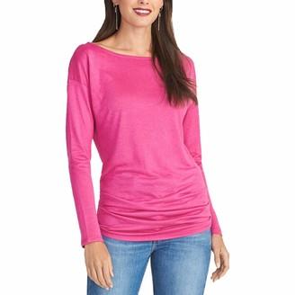 Rachel Roy Womens Pink Long Sleeve Scoop Neck Top Size: S