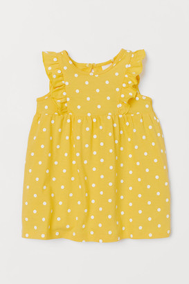 H&M Ruffle-trimmed Cotton Dress - Yellow